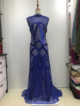 African Lace Fabric 2019 High Quality Blue Lace Fabric  100% Cotton Nigerian Tulle Sequins Lace Trimmings For Sewing JL084