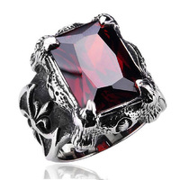 Vintage Stainless Steel Black And Red CZ Gothic Dragon Claw Biker Men S Ring
