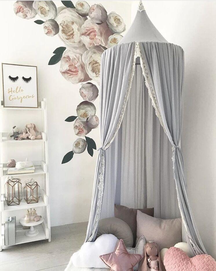 Mousseline de soie bébé filles chambre décoration dentelle moustiquaire enfants lit rideau auvent rond berceau filet tente photographie accessoires Baldachin