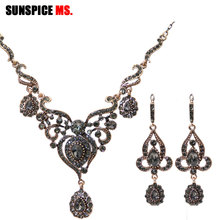 Sunspicems Retro Gold Color Turkish Gray Rhinestone Flower E