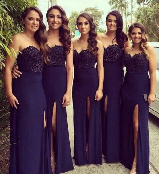 Long Dark Blue Prom Dress Mermaid Strapless With Gold Belt 2016 Bridesmaid Dresses Wedding Party In From Weddings Events On