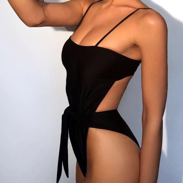 Bikini Push up swimsuit solid swimwear high cut one-piece