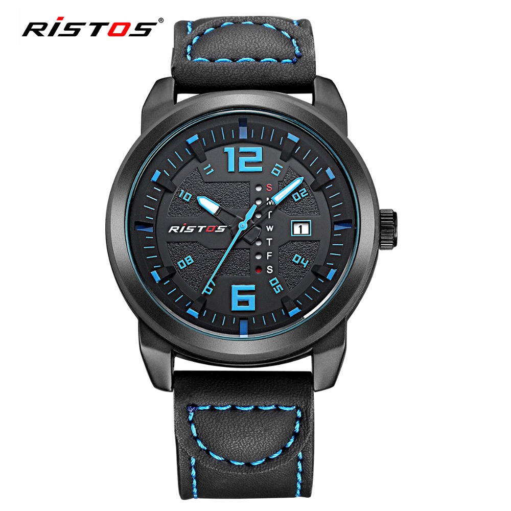Weekly Calendar Quartz : Ristos genuine leather sport men watch week calendar