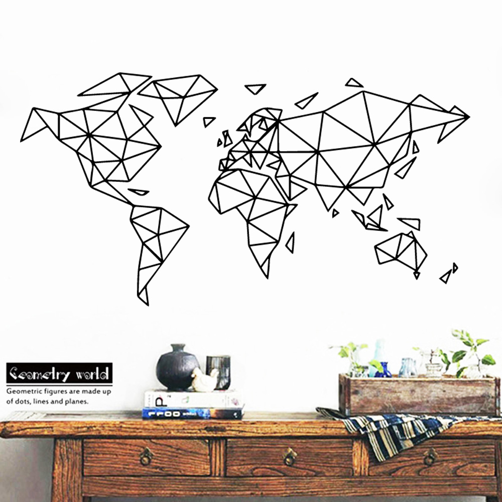 ART Geometric World Map Wall Sticker house Office Room Decoration decal For bedroom living room Decor Mural Wallpaper stickers image