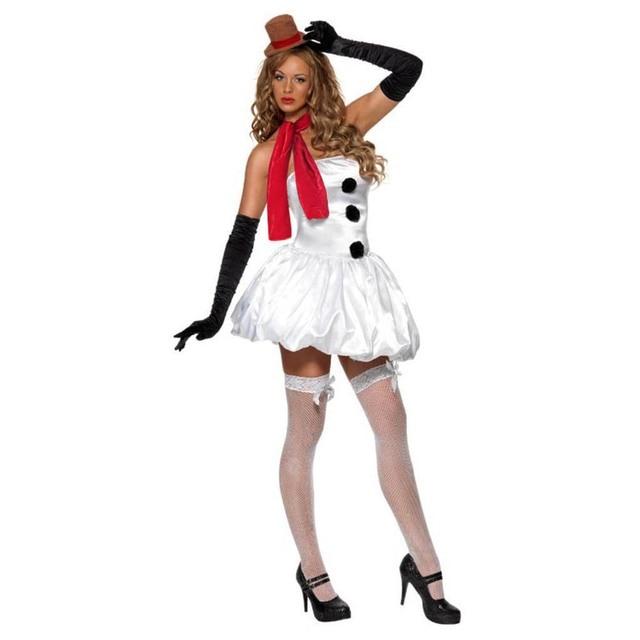 b9092c8d6ca Women s Christmas Snowman Costume Cute Snow Girl Sexy Dress Scarf Outfit  Adult Santa Dress Xmas Party