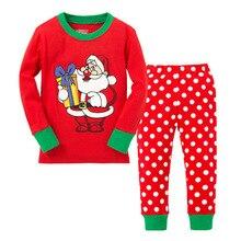 Купить с кэшбэком Baby girl clothes New Year Home Service Set Pajamas Cotton Children'S Wear Boys Girls Baby Cartoon Long Sleeve for kids 2T-7T