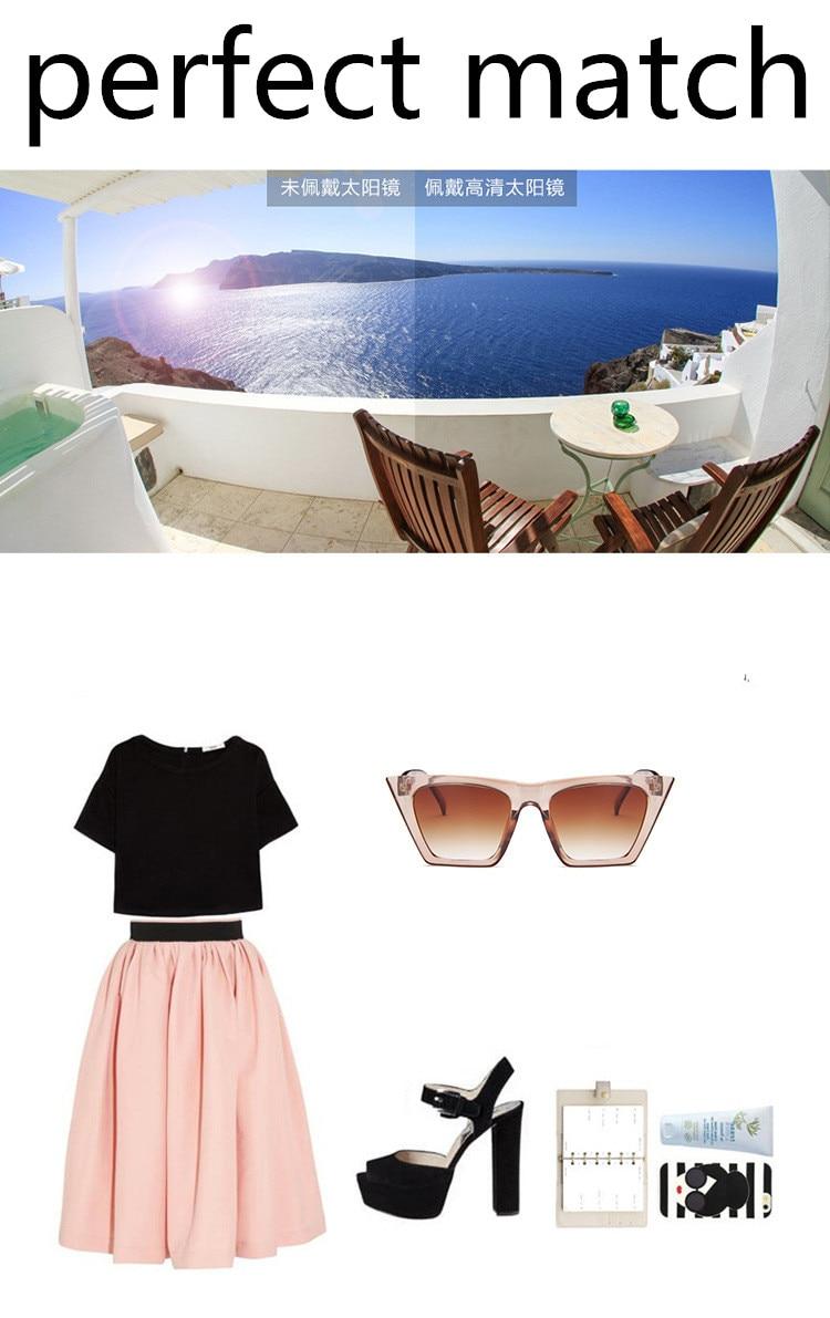 ASUOP2018 New ladies retro cat eye glasses high-end brand travel fashion men's sunglasses sports square UV400 transparent sunglasses (15)
