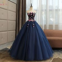 Navy Blue Quinceanera Dresses 2019 Long Lace Flowers Ball Gowns Strapless Sleeveless Up Prom Formal Tulle Robe De Soiree