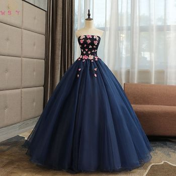 Navy Blue Quinceanera Dresses 2019 Long Lace Flowers Ball Gowns Strapless Sleeveless Lace Up Prom Formal Tulle Robe De Soiree
