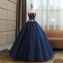 Темно синие длинные кружевные бальные платья quinceanera 2019