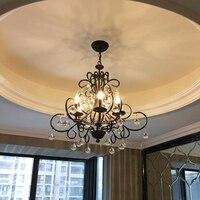 bedroom lamp American country retro villa glass ball chandelier light Living room wrought iron chandelier lighting restaurant