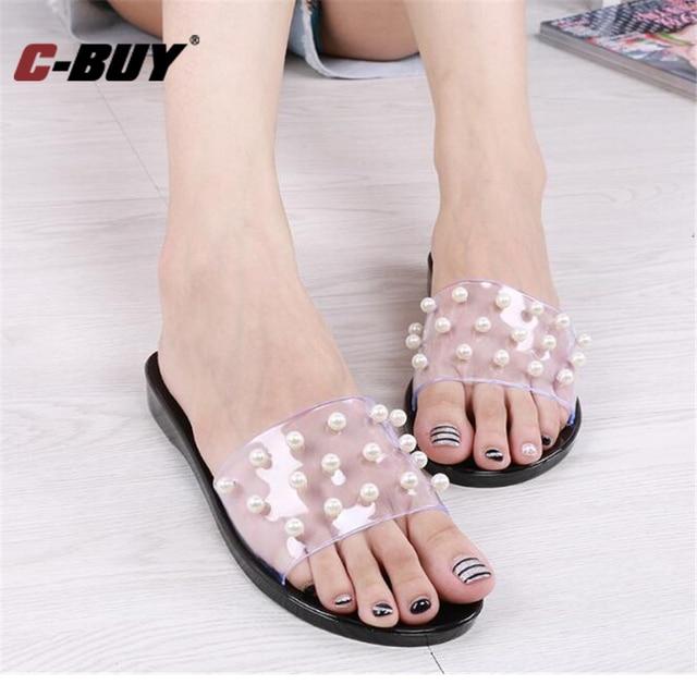 Women Summer Pearl Sandals Home Slippers Fashion Flip Flops Bathroom  Sandals Female Beach Flat Sandals Z35
