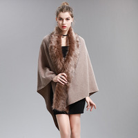 Autumn Women Cashmere Sweaters Knitted Cardigan Fake Fox Fur Collar Poncho and Capes Feminino Winter Plus size Wraps Sweater z30
