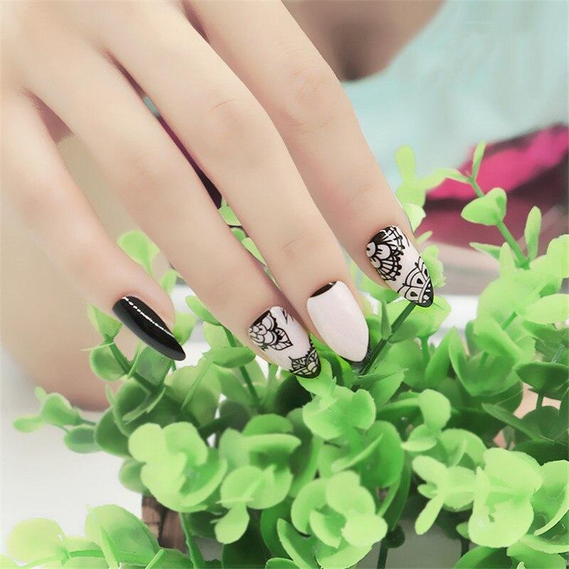 Nueva 24 unids/caja negro diseño Stiletto falso uñas con Gule ...