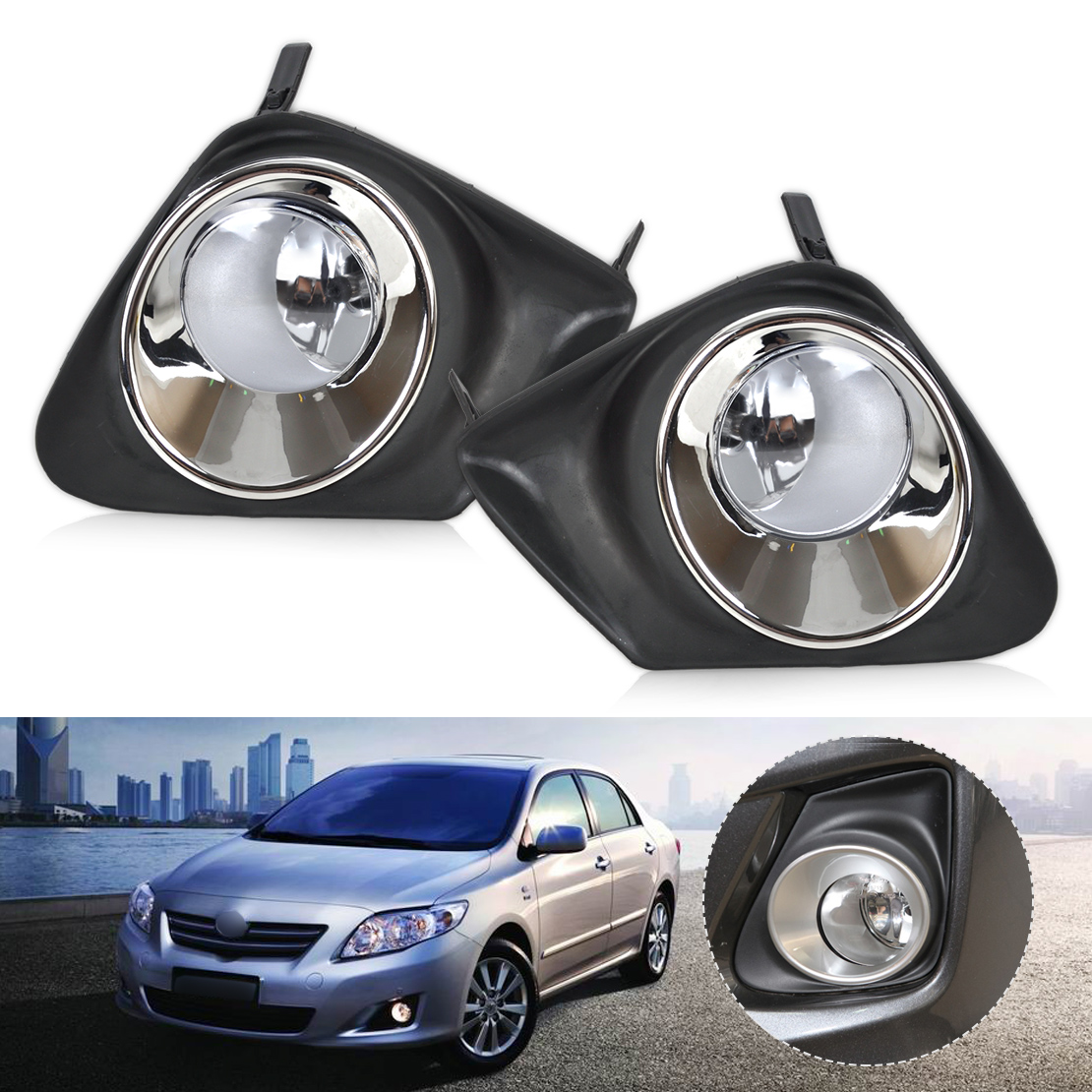 DWCX 4Pcs Car Front Bumper Fog Light Lamp + Grille Cover 812200D040 SC2592100 116-50131L Fit for Toyota Corolla 2011 2012 2013 1set front chrome housing clear lens driving bumper fog light lamp grille cover switch line kit for 2007 2009 toyota camry