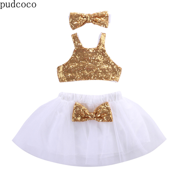 Kids Baby Girl 3PCS Cloth Gold Sequins Vest Tops+White Tutu Skirts+Gold Bow Headwear Outfits Set Party Gown Formal Colthing Sets