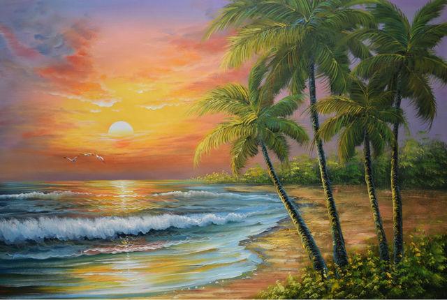 Dipinta a mano moderna spiaggia mare onda paesaggio marino for Disegno paesaggio marino