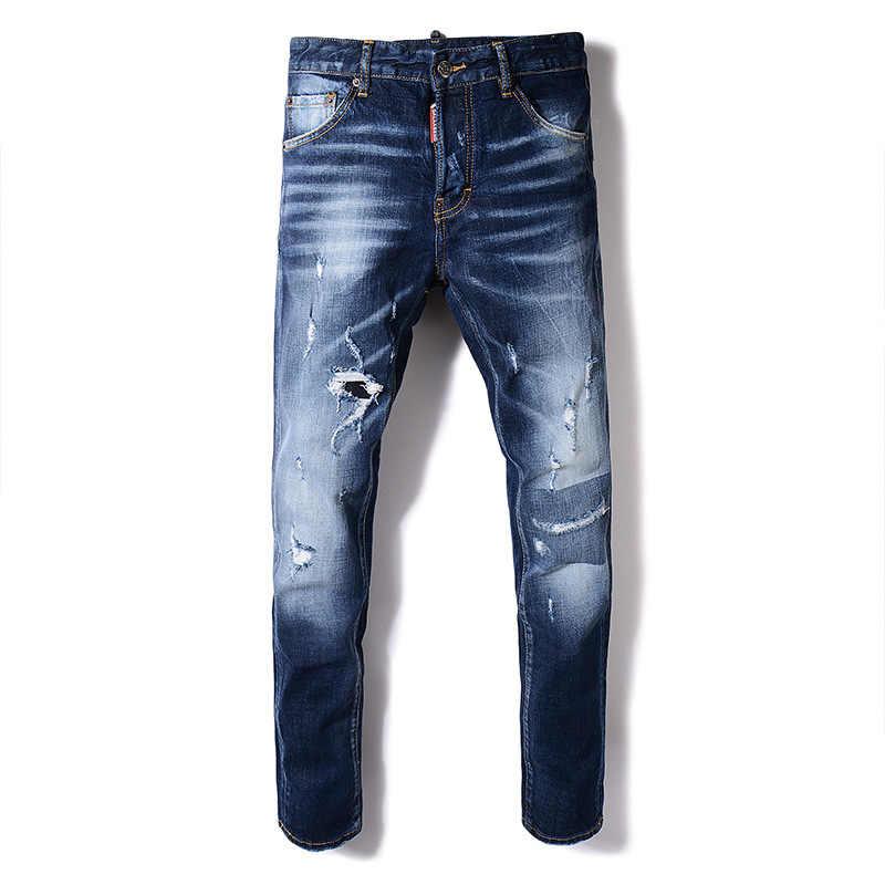 f0d900fb96d 2018 новые джинсы мужские модели тонкие дырки темные брюки нерегулярные рваные  джинсы для мужчин узкие джинсы