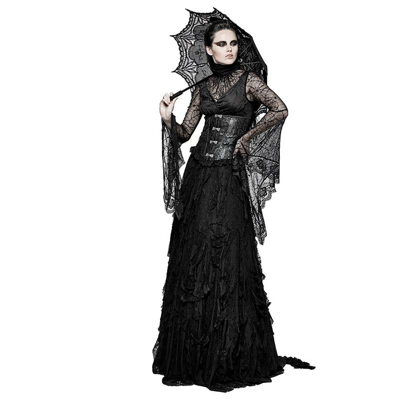 Gothic Schwarz Damen Sexy Spitze Verstellbare Bandage T shirt Halloween Spider Web Lang Flare Sleeve Shirts Tops Tees PUNK RAVE T 449 - 5