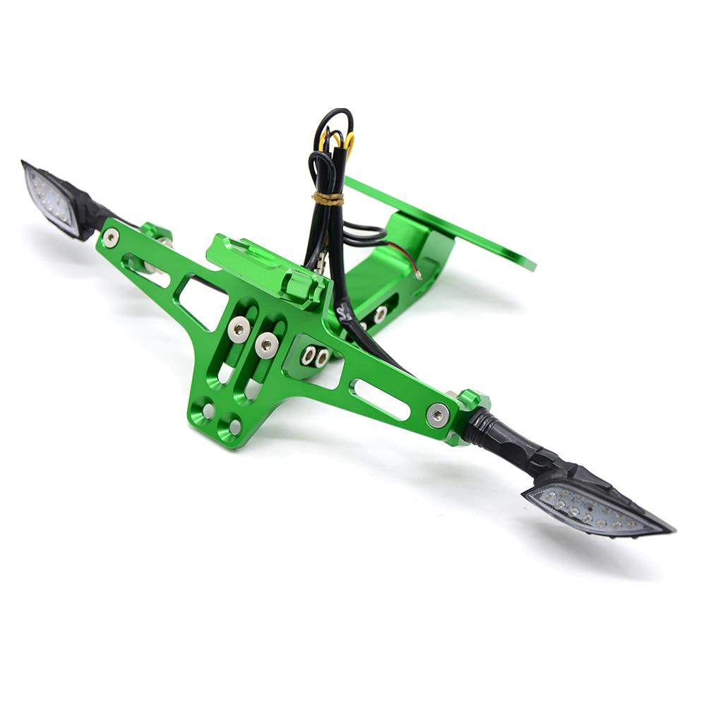 Мотоцикл Номерных Знаков держатель номер светодиодный поворотник для honda vfr 800 mt 03 xt 600 f800r yamaha r15 mt 125 fz6n - Цвет: Зеленый