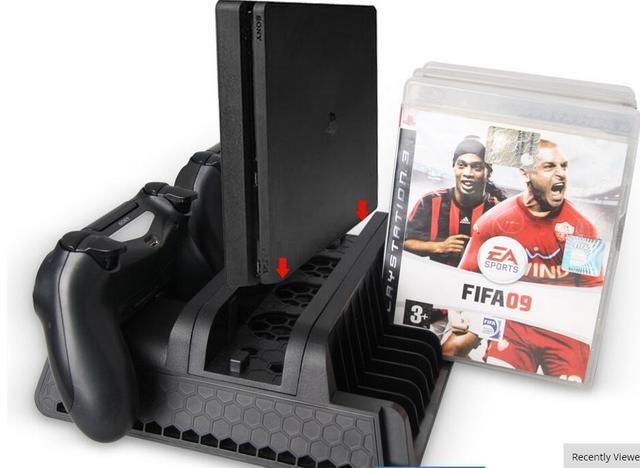 Многофункциональный Зарядное Док-Станция для PS4 Slim/Pro Геймпад Консоли и Контроллера Станции Вертикальная Подставка Вентилятор Охлаждения с Игры Хранения