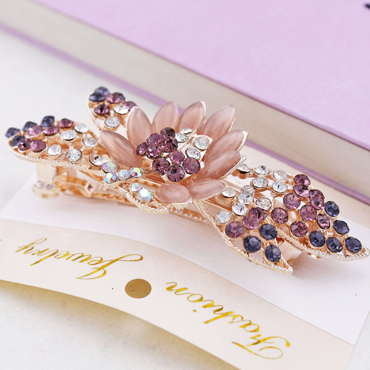 High-grade rose flower hairpin clip, free home delivery 2014 free shipping triple mini satin rose flower with rhinestone clip fabric eyelet flower hairpin hair accessories8pcs lot