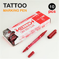 10PCS Tattoo Accessories Pen Supply Red Oil Ink 0.7mm & 1-1.3mm Dual Tip Double End Tattoo Skin Marker Marking Pen Scribe Tool