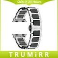 Cerâmica & Pulseira De Aço Inoxidável + Adaptadores para 38mm 42mm iwatch apple watch band wrist strap link pulseira de ouro negro prata