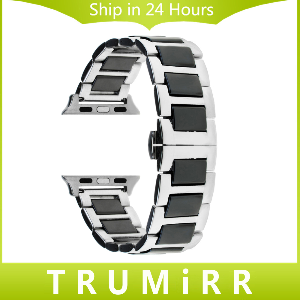 Ceramic & Stainless Steel Watchband + Adapters for 38mm 42mm iWatch Apple Watch Band Wrist Strap Link Bracelet Black Gold Silver stainless steel watchband adapters for fitbit charge 2 smart watch band butterfly buckle strap wrist bracelet silver rose gold
