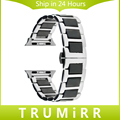 Correa de Reloj de cerámica y Acero Inoxidable + Adaptadores para 38mm 42mm iwatch apple watch band correa de muñeca brazalete de eslabones de oro negro plata