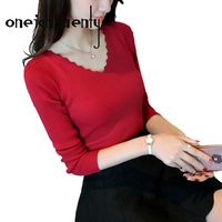 New Women S V Collar Elastic Knitted Jacket Bottoming Shirt Show Slim Self Cultivation Long