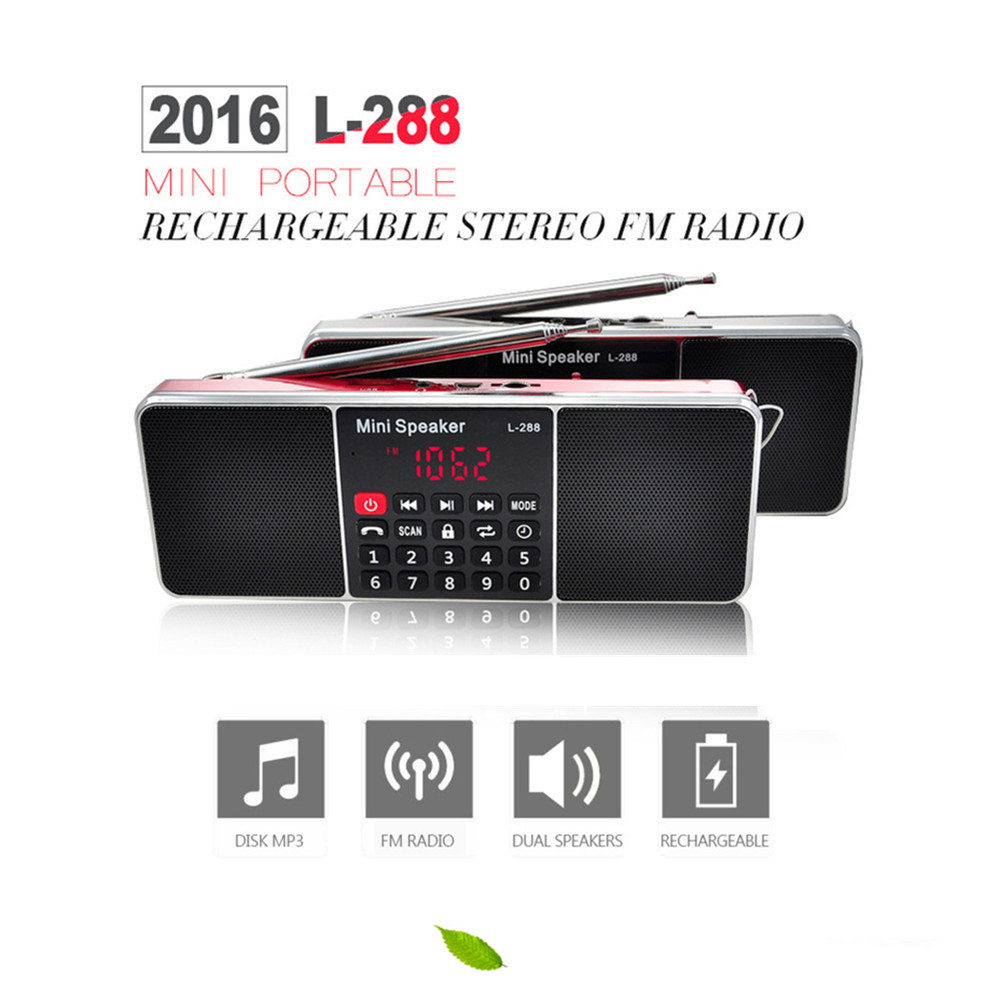 L - 288AMBT Bluetooth Wireless Speaker Support AM Radio FM Radio LCD Display Screen Support TF Card USB 3.5mm Audio Devices