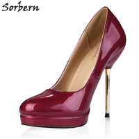Sorbern Wine Red Patent Small Heels Platform Gold Stilettos High Heels African Dresses For Women Club Heels Shoes Woman Pumps