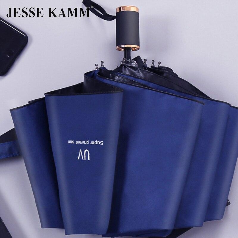 Jessica der hand engen regenschirm schwarz beschichtet uv beständig wind beständig rahmen gold griff damen und herren