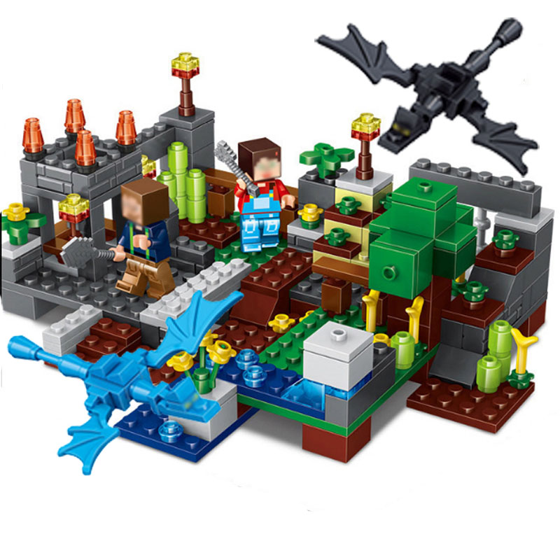 4 in 1 MY WORLD Town group Building Blocks Sets Compatible Legoed Minecrafted Figures City Village Bricks Toys For Children Kids classic my world minecraft the nether fortress building blocks bricks enlighten toys for children kids lele bela 21122 legoingly