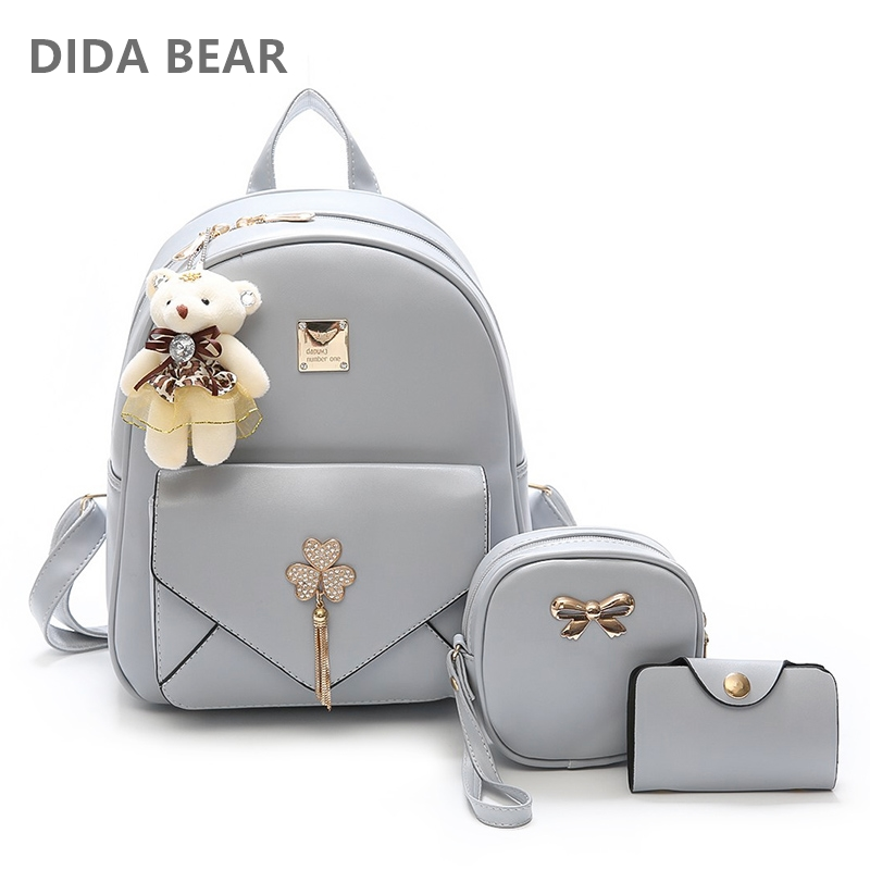 DIDA BEAR Fashion 3pcs Set Bag Women Leather Backpack Cute School Backpacks For Teenage Girls Female Shoulder Bag Purse Mochila hot fashion design personality little bear women backpacks cute character shapes cartoon girls schoolbag casual shoulder bag