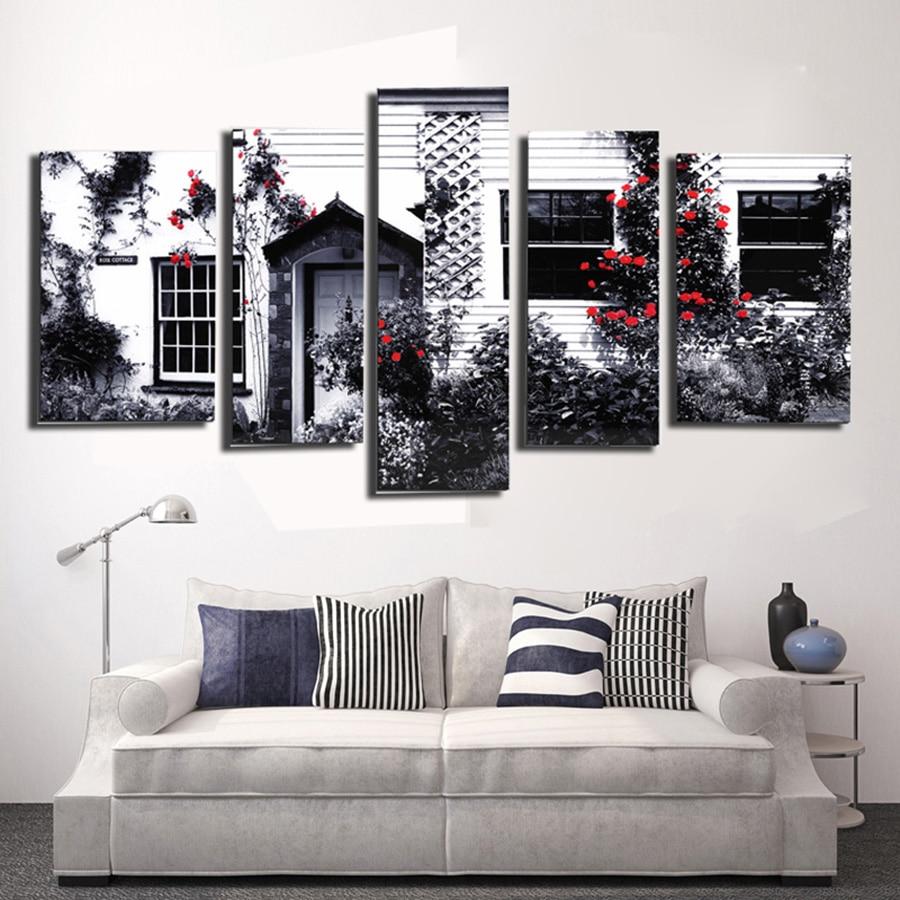 5 panneau vintage home decor fleur rouge peinture image cuadros decoracion toile art mur pour salon no frame sj 100862 dans peinture et calligraphie de