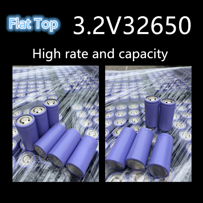 10pcslot  High rate 32650 3.2V 5000mah rechargeable Li-ion cylinder battery  flat top for electric tricycle, sprayers, torch
