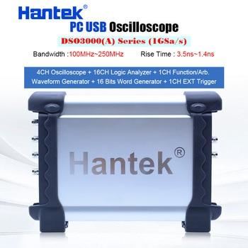 Hantek DSO3000A USB осциллографы 4CH 100-250Mhz 1GSa/s хранилище ПК генератор сигналов 16 каналов логический анализатор тестер сигнала