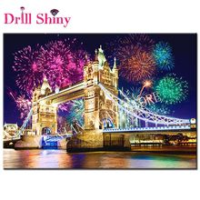 5D Full Square Diamond Painting Fireworks London bridge of Rhinestones Handicraft Needlework Kits Home Decor Diamond Embroidery(China)