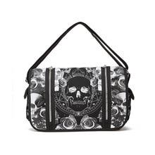 JIEROTYX Unisex Mica Skulls Roses Black & White Illuminati Gothic Waterproof Shoulder Cross Messenger School Work Bag Drop Ship