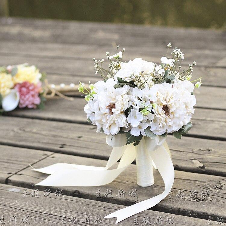 ''25cm Hand Holding Blume Bouquet Hochzeit Braut Brautjungfern Bouquet Diy Handgemachte Braut Blume Hochzeit Partei Geschenke Blumen SorgfäLtige Berechnung Und Strikte Budgetierung