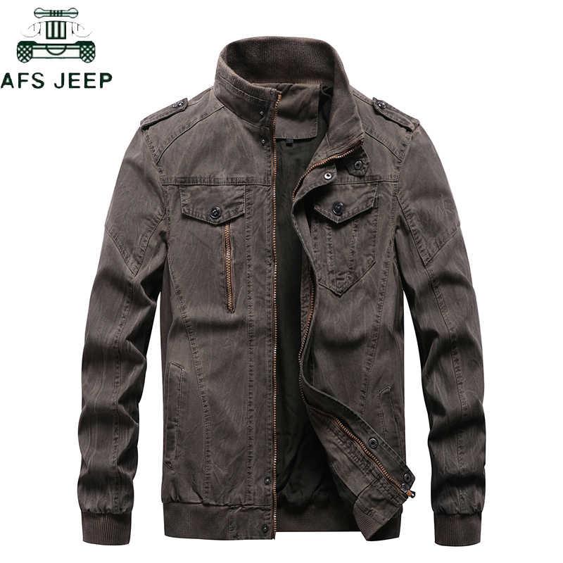 Yeni 2019 Vintage Askeri Kot Ceket Erkekler Marka Bombacı Ceketler Erkek Büyük Boy M-6XL Standı Yaka Slim Fit Jaqueta Masculina