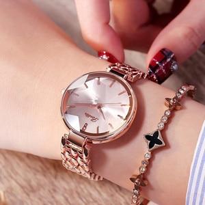 Image 5 - Super luksusowe zegarki damskie z diamentowymi tarczami damskie eleganckie zegarek kwarcowy na co dzień kobieta ze stali nierdzewnej sukienka zegarki zegar kobiety prezenty