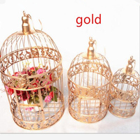S M L European Style Decorative Bird Cage Window Ornaments White Photography Props Hotel Wedding Cage