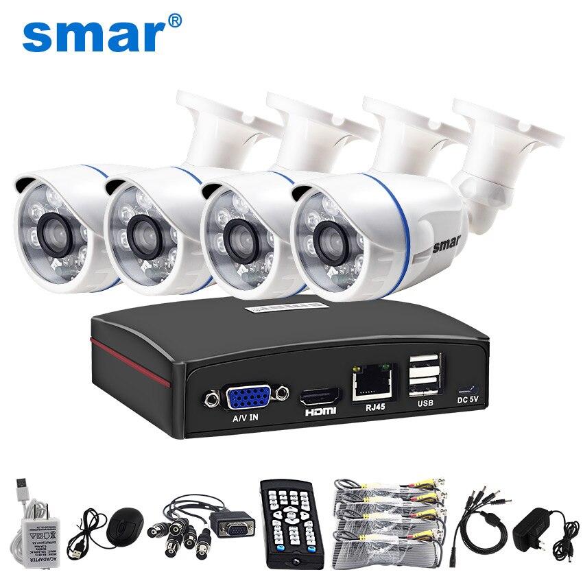 Smar HD 4CH 1080N 5in1 AHD DVR комплект видеонаблюдения Системы 720 P/1080 P AHD Водонепроницаемый ИК Камера безопасности наблюдения комплект дистанционного ...