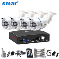 Smar HD 4CH 1080N 5in1 AHD DVR Kit CCTV System 720P/1080P AHD Waterproof IR Camera Security Surveillance Set Remote Control