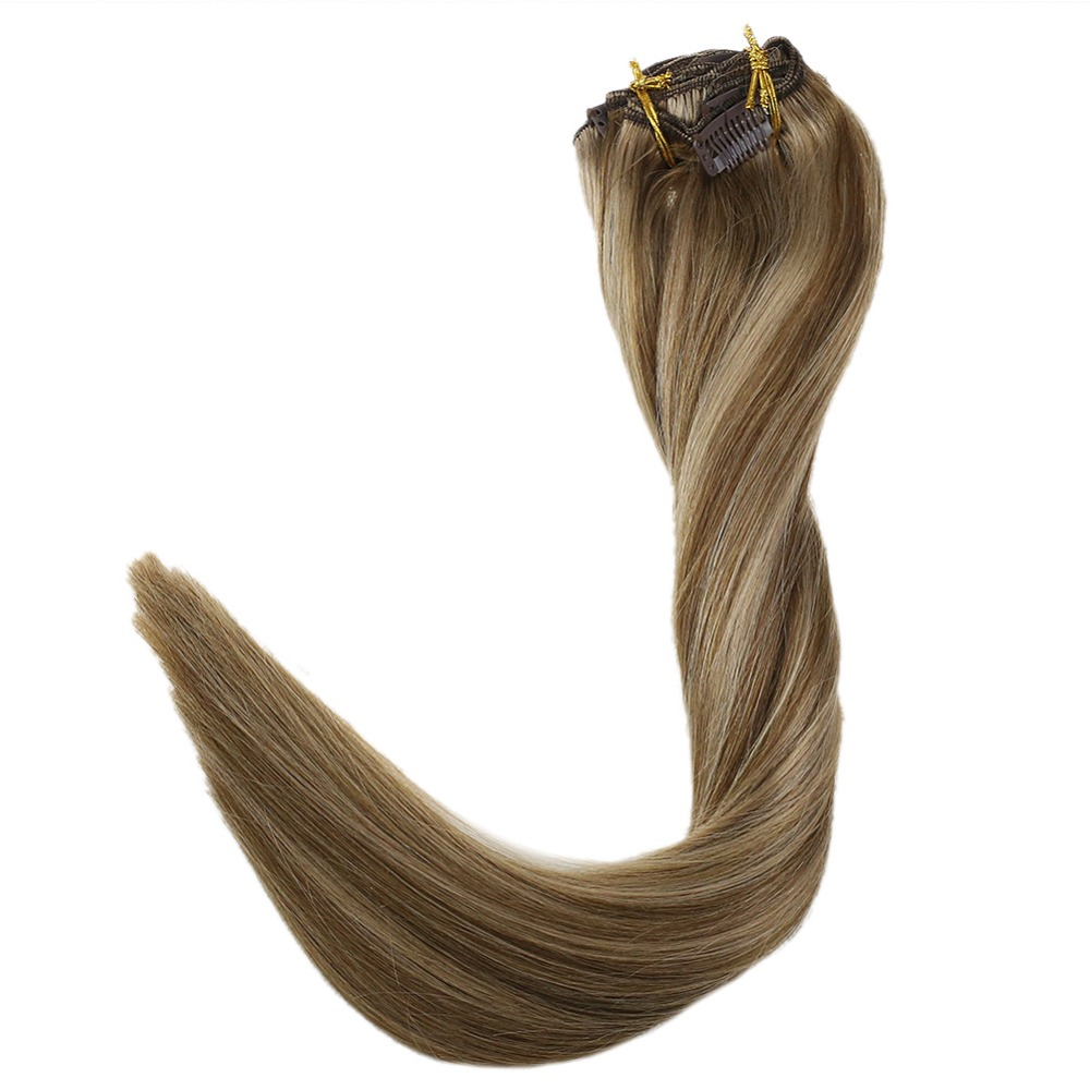 Full Shine 9 Pcs Clip In Hair Extensions #10 Highlighted With #16 Blonde 100% Remy Hair Clip On Double Wefted Extension 100g