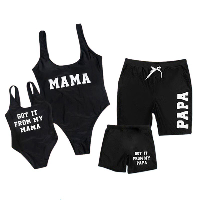 2019 Family Matching Swimwear One Piece Mother Daughter Women Kid Son Girl Queen Swimsuit Bathing Suit Maillot De Bain Feminino-3