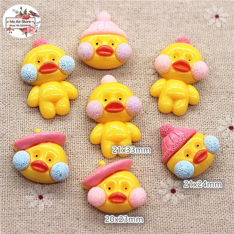 10pcs Yellow Resin Cabochon Flatback Duck Animal Cartoon DIY Craft Decoration